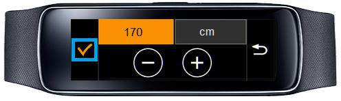 Samsung Gear Fit, Profil erstellen, Schritt 5, Körpergröße auswählen