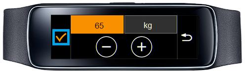 Samsung Gear Fit, Profil erstellen, Schritt 6, Gewicht auswählen