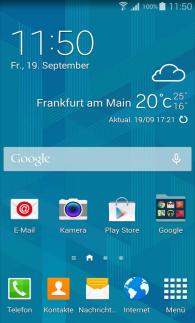 Samsung Galaxy S5, Deaktivierung von My Magazine auf dem Startbildschirm, Schritt 1, Startbildschirm öffnen