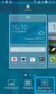 Samsung Galaxy S5, Deaktivierung von My Magazine auf dem Startbildschirm, Schritt 2, Startseiteneinstellungen auswählen