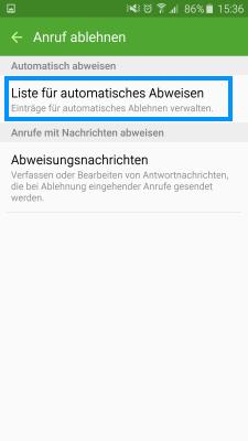 Samsung Smartphone ältere Versionen, Anrufblockierung, Schritt 5, Liste für automatisches Abweisen auswählen