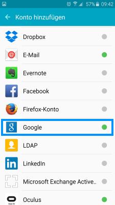 Samsung Smartphone, Google Konto einrichten, Schritt 3, Google Konto auswählen