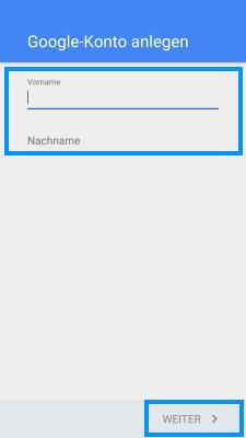 Samsung Smartphone, Google Konto einrichten, Schritt 5, Name eingeben