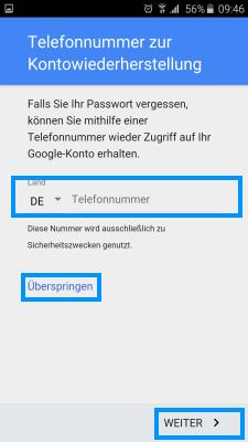 Samsung Smartphone, Google Konto einrichten, Schritt 7, Telefonnummer zur Kontowiederherstellung hinterlegen