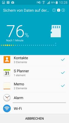 Wie kann ich mit Smart Switch meine Daten auf die SD-Karte sichern