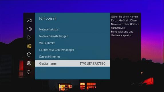 Wählen Sie dann Netzwerk, Gerätename