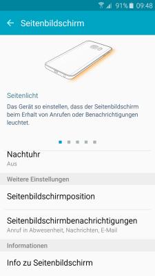 Seitenbildschirm des Galaxy s6 (edge/edge+) Funktionen, Menü -Einstellungen-Seitenbildschirm
