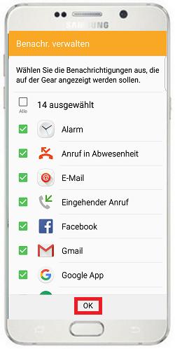 Wählen Sie als nächstes aus, von welchen Apps Sie Benachrichtigungen auf der Smartwatch empfangen möchten und bestätigen Sie Ihre Auswahl zum Schluss mit «OK»