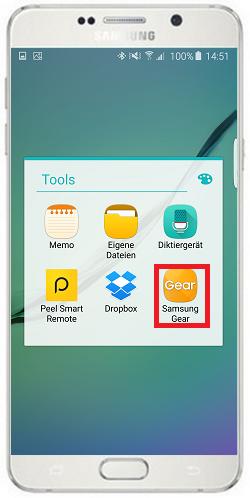 Bilder von Mobilgerät auf Gear S2/Gear S2 Classic übertragen, Samsung Gear auswählen