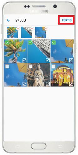 Bilder von Mobilgerät auf Gear S2/Gear S2 Classic übertragen, Bilderauswahl mit Fertig bestätigen