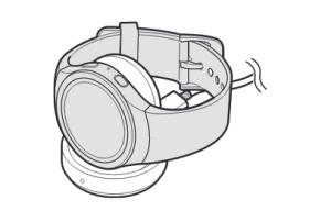 Samsung Gear S2 (classic) aufladen, inklusive info zum Ladestatus, Gear S2(classic) auf Ladeschale legen