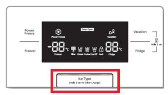 Samsung Side-by-Side Kühlschrank, Eisproduktion, Drücken der Ice Type-Taste