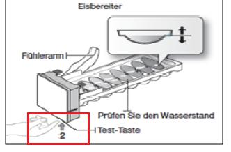 Samsung Side-by-Side Kühlschrank, Eisproduktion, Test Taste am Eisbereiter