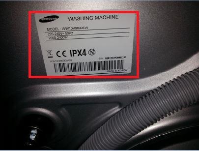 Samsung Waschmaschine, Modellcode und Seriennummer auf Rückseite der Waschmaschine