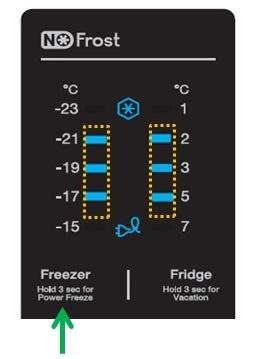 Samsung-Kühlschrank im Demo-Modus nutzen, Demomodus aktivieren,  Freezer Taste drücken