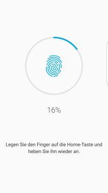 Fingerabdrücke auf Samsung S7 registrieren, Aufnahme