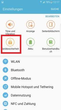 Fingerabdrücke auf Samsung S7 registrieren, Gerätesicherheit
