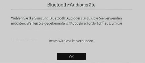 Samsung-Smart TV mit Blueetooth-Kopfhörer verbinden, Bestätigung
