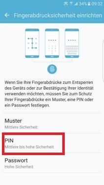 Fingerabrucksicherheit auf Samsung S7 einrichten, PIN festelegen