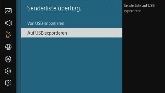 Senderliste für Samsung Smart TV auf USB-Stick exportieren