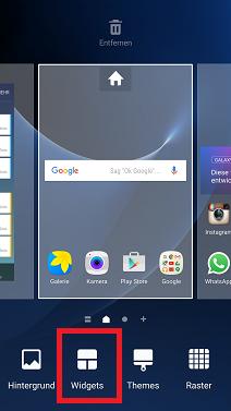 Widget auf Samsung S7 hinzufügen, Menüleiste
