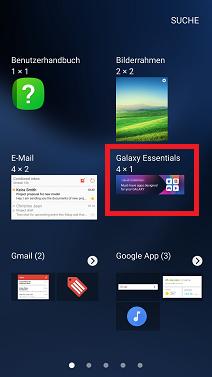 Widget auf Samsung S7 hinzufügen, Widgetsymbol gedrückt halten