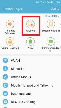 Nachtuhr auf Samsung S7 aktivieren, Anzeige