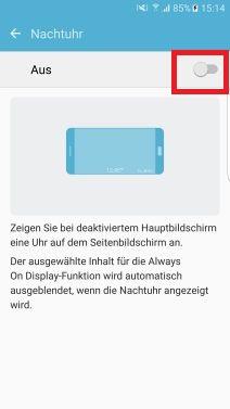 Nachtuhr auf Samsung S7 aktivieren, Schieberegler