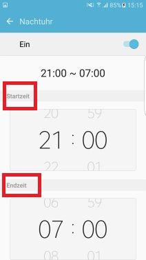 Nachtuhr auf Samsung S7 aktivieren, Starzeit und Endzeit