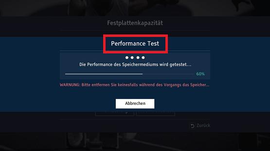 Festplatte bei Samsung Digitalreceiver formatieren, Performance Test