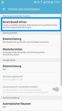 Smart Switch auf Samsung S7 öffnen