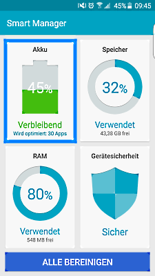 Samsung Galaxy Smartphone, Funktonalitäten Smart Manager, Schritt 2, Akku -Speicher -RAM -Gerätesicherheit