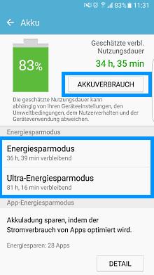 Samsung Galaxy Smartphone, Funktonalitäten Smart Manager, Akkuverbrauch einsehen und einstellen