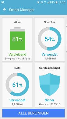 App-Optimierung Funktion auf Samsung Galaxy, verbleibende Akku-Laufzeit