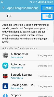 App-Optimierung Funktion auf Samsung Galaxy, Energiesparmodus aktivieren