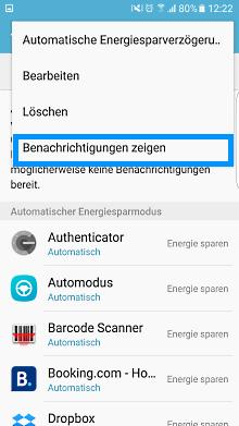 App-Optimierung Funktion auf Samsung Galaxy, Benachrichtigungen zeigen