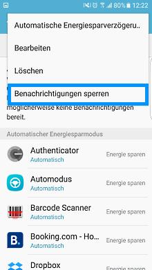 App-Optimierung Funktion auf Samsung Galaxy, Benachrichtigungen sperren