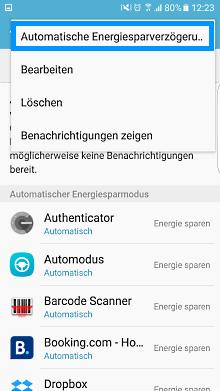 App-Optimierung Funktion auf Samsung Galaxy, Energiesparverzögerung aktivieren