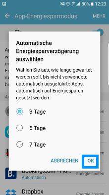 App-Optimierung Funktion auf Samsung Galaxy, Dauer der Energiesparverzögerung
