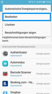 App-Optimierung Funktion auf Samsung Galaxy, Energiesparverzögerung bearbeiten