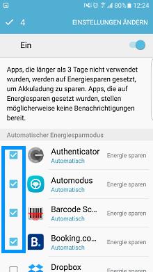 App-Optimierung Funktion auf Samsung Galaxy, Einstellungen ändern
