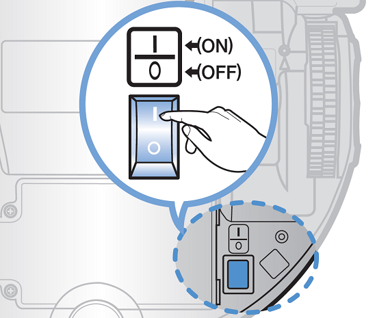 Samsung Saugroboter POWERbot VR9200, Ersteinrichtung, ON/OFF-Schalter des Saugroboters auf ON-Position stellen
