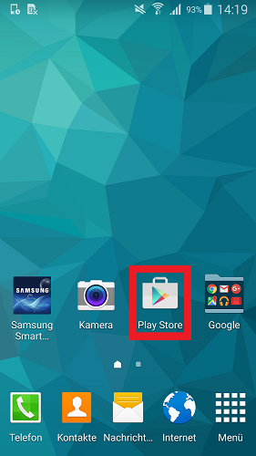 Schalten Sie Ihr Mobilgerät ein und tippen Sie auf dem Mobilgerät auf den Google Play Store