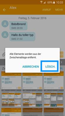 Samsung Galaxy Smartphone, Zwischenablage leeren, Schritt 3