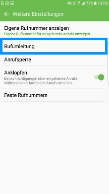 Mailbox bei Samsung Galaxy Smartphone einstellen, Anrufe umleiten