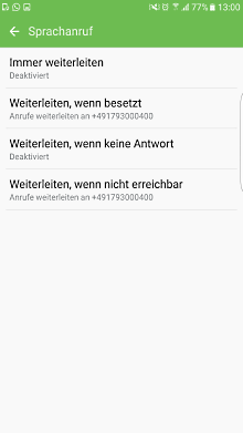 Mailbox bei Samsung Galaxy Smartphone einstellen, Optionen für Anrufumleitung