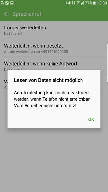 Mailbox bei Samsung Galaxy Smartphone einstellen, Fehlermeldung