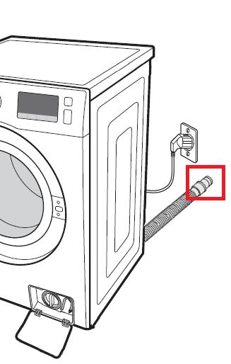 Samsung Waschmaschine anschließen, Ablaufschlauch mit Abflussrohr verbinden