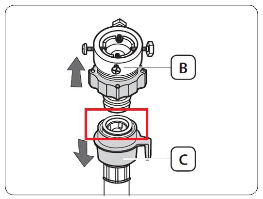 Der Adapter und Frischwasserschlauch wird angezeigt.