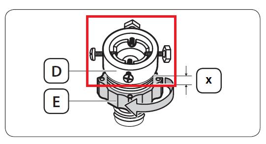 Die Schrauben des Adapters sind markiert.
